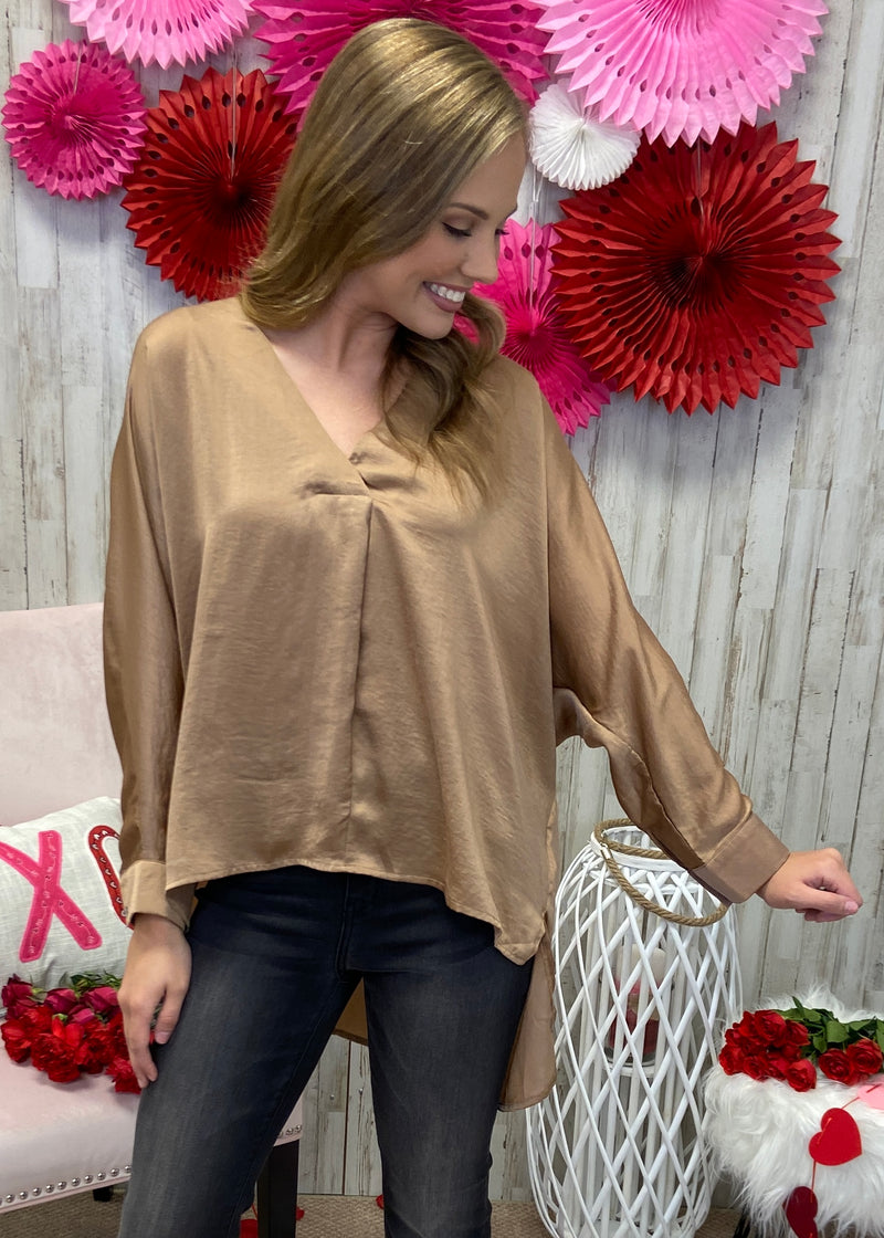 Chic On Command Taupe V-Neck Top-Shop-Womens-Boutique-Clothing