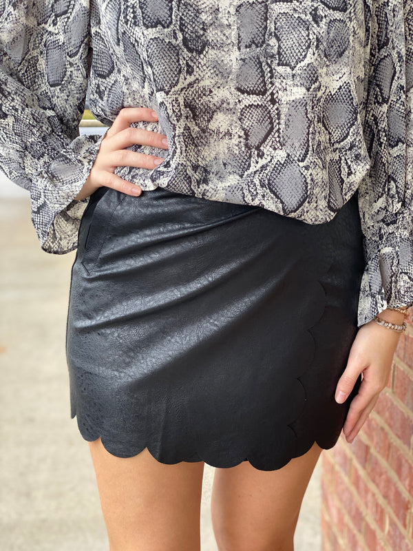 Show It Off Black Leather Skirt-Shop-Womens-Boutique-Clothing