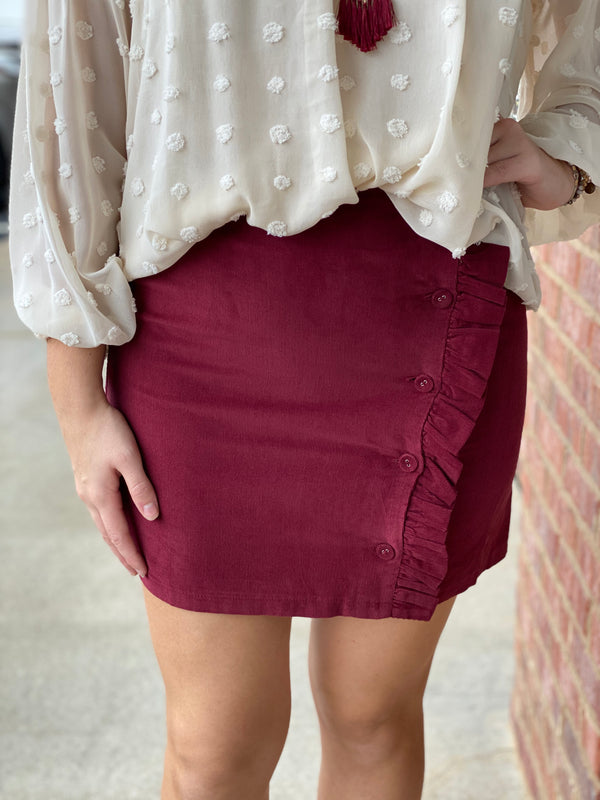 Wine Button Front Skirt