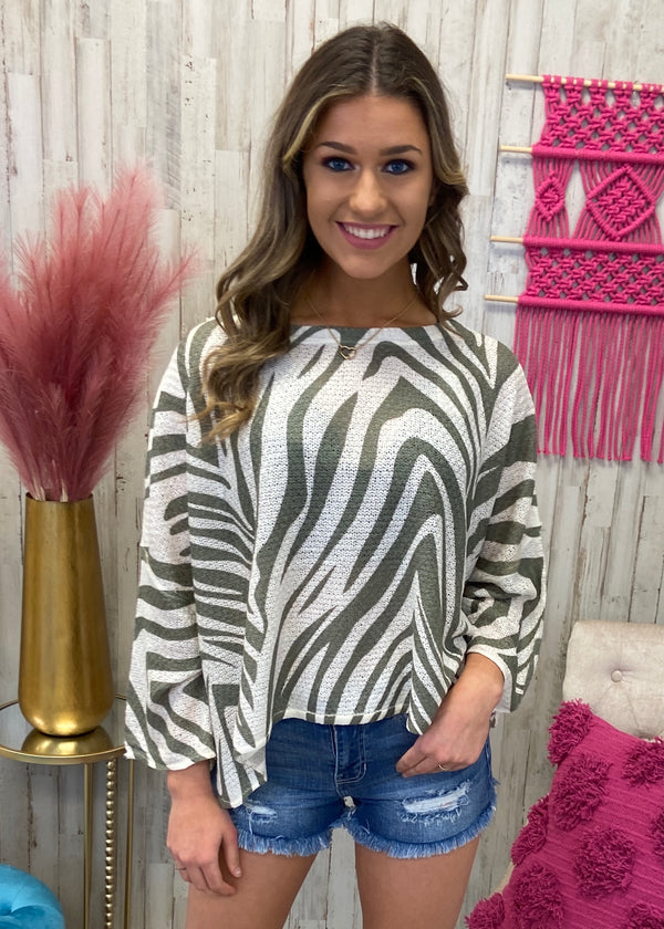 Off The Path Olive Zebra Sweater-Shop-Womens-Boutique-Clothing