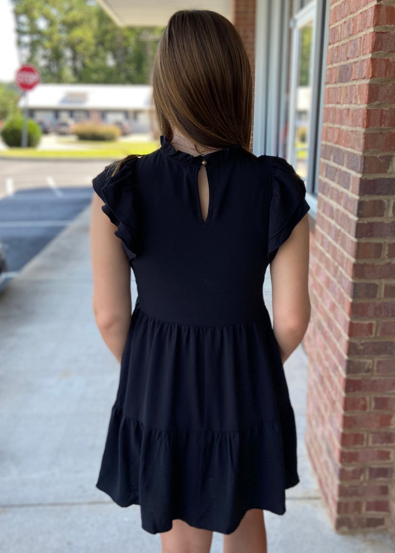 Up To Something Black Ruffle Neck Tiered Dress-Shop-Womens-Boutique-Clothing