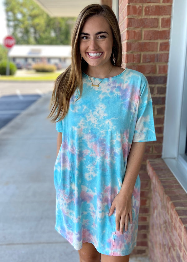 Dreaming About You Blue Coral Tie Dye Dress-Shop-Womens-Boutique-Clothing