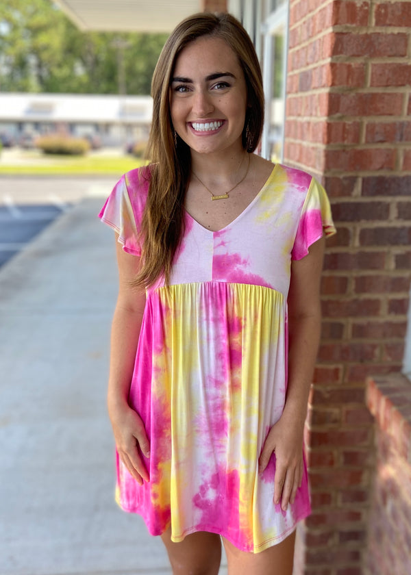 A Sunrise Dream Fuchsia Tie Dye Dress-Shop-Womens-Boutique-Clothing