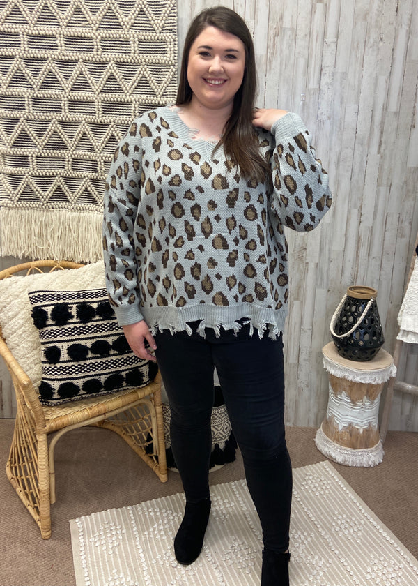 Cool Down Plus Grey Leopard Sweater-Shop-Womens-Boutique-Clothing