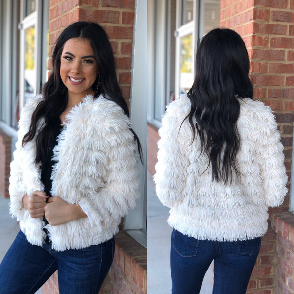 Dress To Impress Ivory Faux Fur Jacket