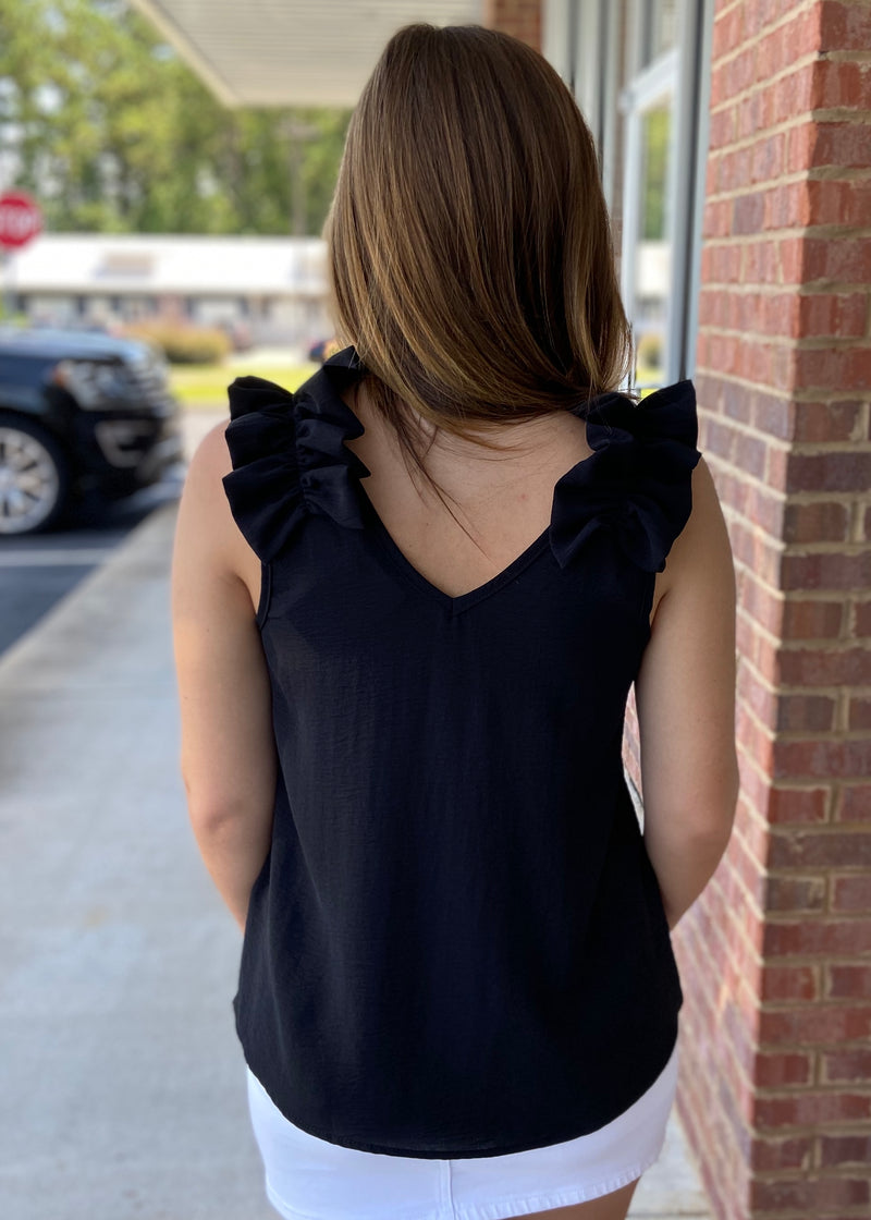 Gotta Be Loud Black Ruffled Top-Shop-Womens-Boutique-Clothing