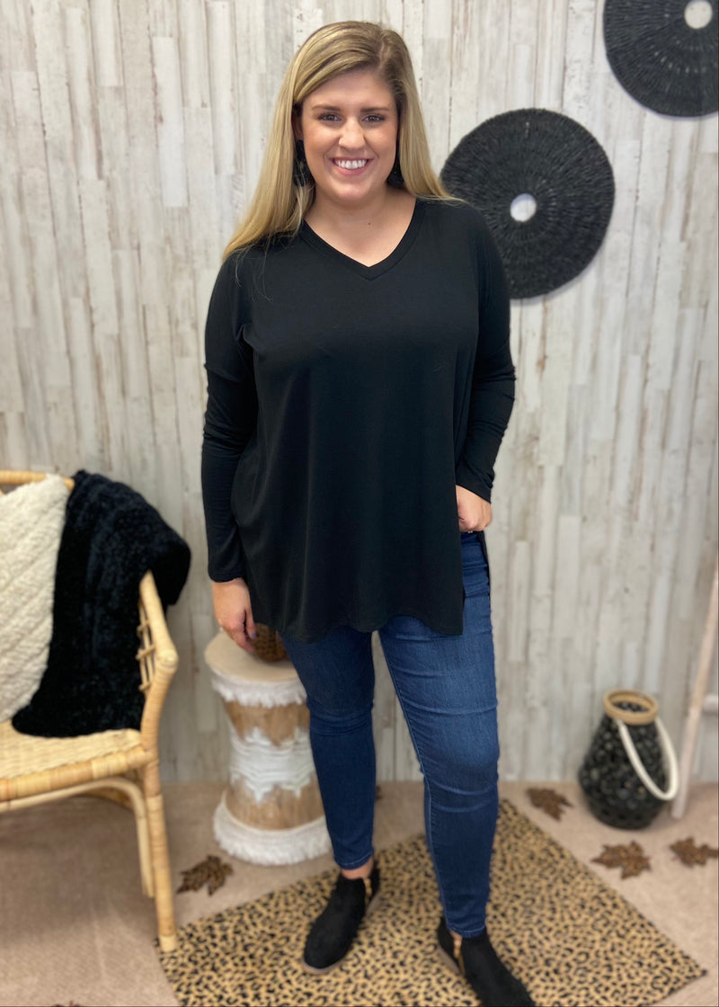 Simply Casual Plus Black V-Neck Top-Shop-Womens-Boutique-Clothing