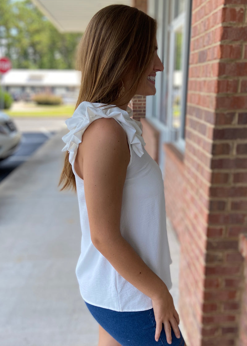 Gotta Be Loud Off White Ruffle Shoulder Top-Shop-Womens-Boutique-Clothing