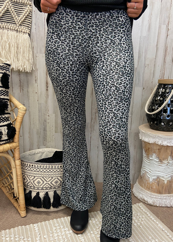 Set The Narrative Black Leopard Flare Pants-Shop-Womens-Boutique-Clothing