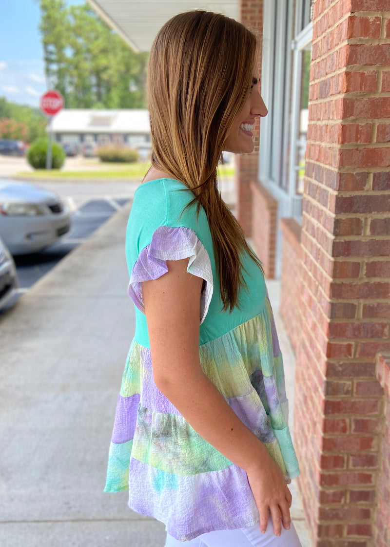 Mint To Be Tie Dye Babydoll Top-Shop-Womens-Boutique-Clothing