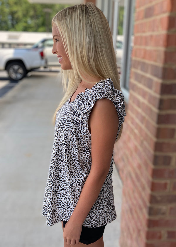 Hunters Beware Ivory/Taupe Leopard Ruffle Shoulder Top-Shop-Womens-Boutique-Clothing