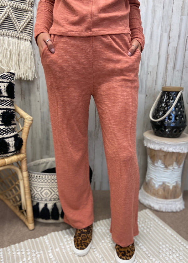Dream State Rust Ribbed Pants-Shop-Womens-Boutique-Clothing