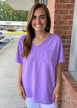 Not That Basic Lavender Pocket Top-Shop-Womens-Boutique-Clothing