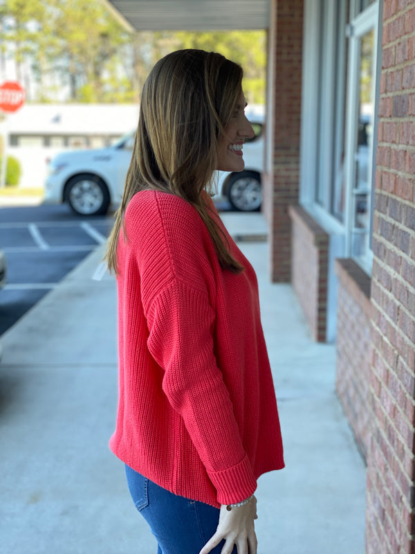 Feeling This Love Tomato Boat Neck Sweater-Shop-Womens-Boutique-Clothing