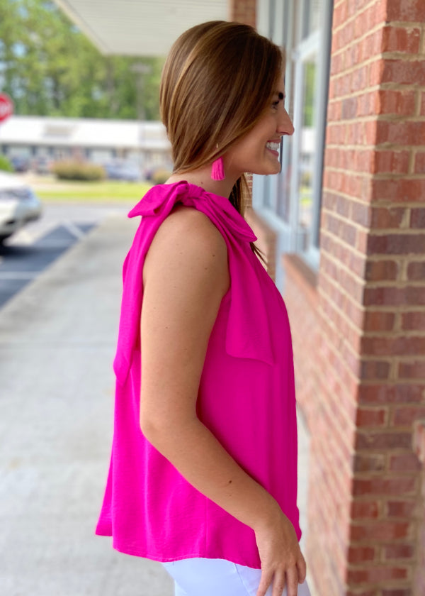 Get Obsessed Hot Pink One Shoulder Top-Shop-Womens-Boutique-Clothing