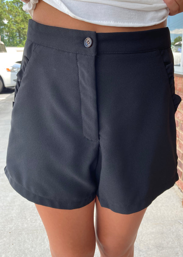 Double Take Black Ruffled Pocket Shorts-Shop-Womens-Boutique-Clothing