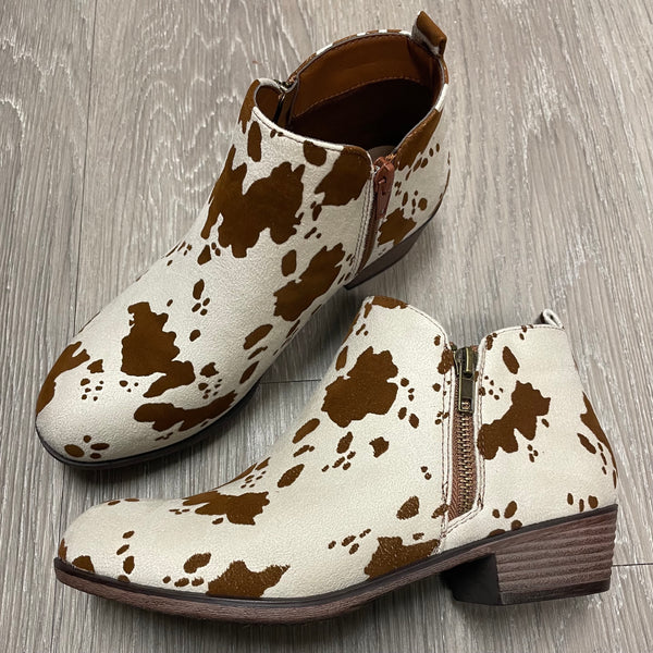 Annabelle Cowprint Booties-Shop-Womens-Boutique-Clothing