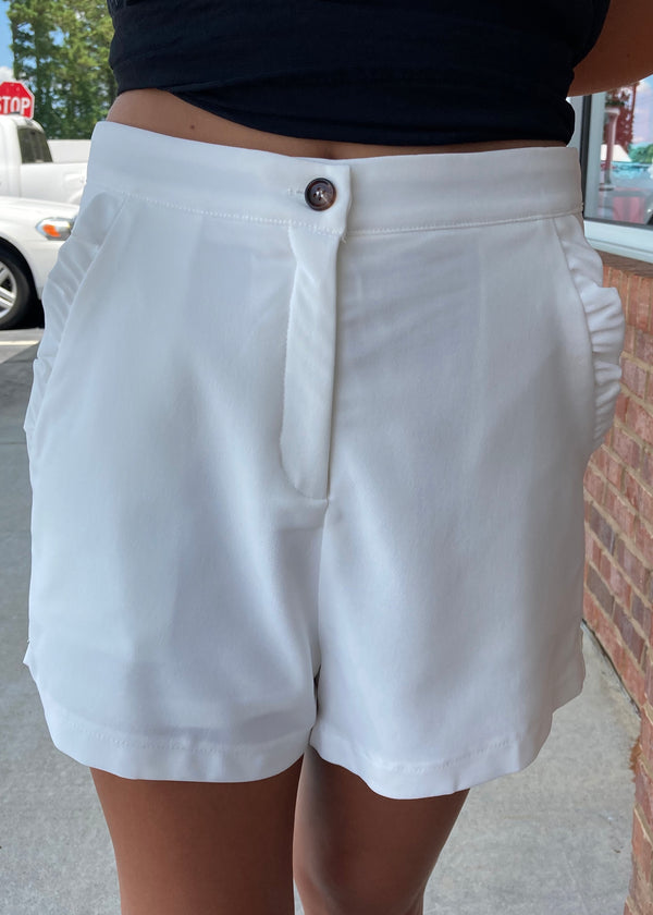 Double Take Off White Ruffled Pocket Shorts-Shop-Womens-Boutique-Clothing