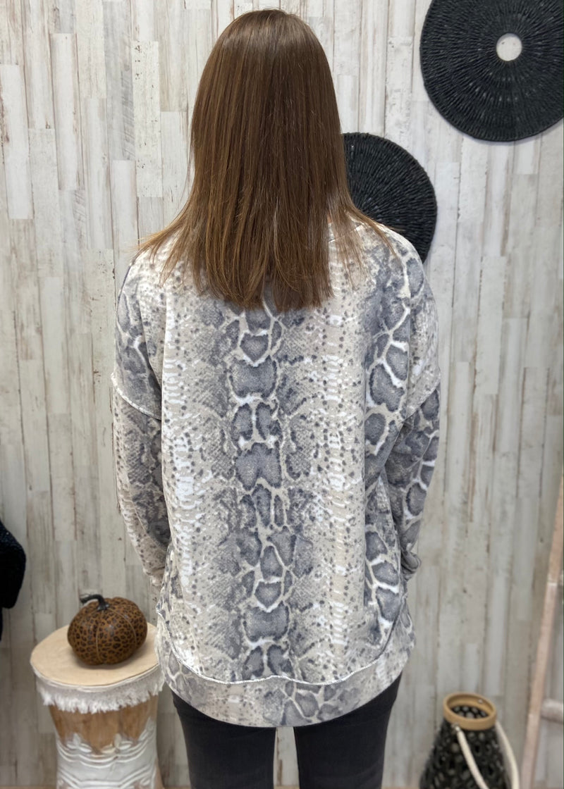 Hidden Away Grey Snakeprint Top-Shop-Womens-Boutique-Clothing