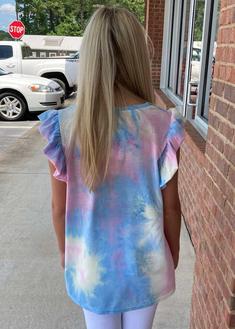 Lift My Spirits Blue Mix Tie Dye Ruffle Sleeve Top-Shop-Womens-Boutique-Clothing