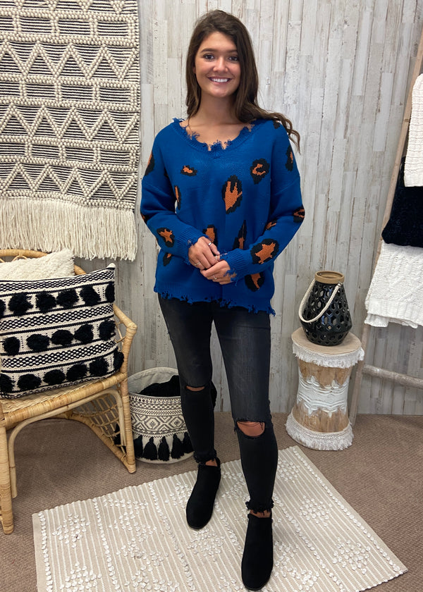 Keep Going Back Blue Leopard Sweater-Shop-Womens-Boutique-Clothing