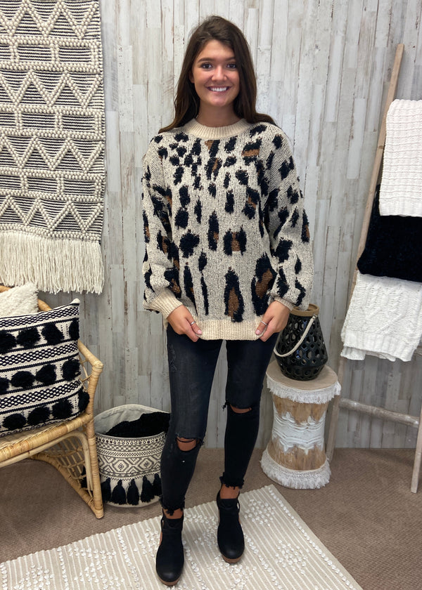 Be The Kind Beige Leopard Sweater-Shop-Womens-Boutique-Clothing