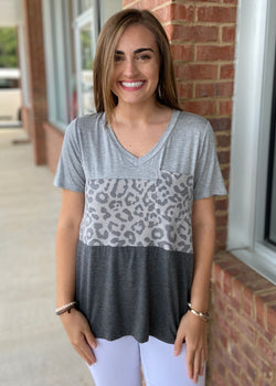 Wild Beauty Grey Colorblock Top-Shop-Womens-Boutique-Clothing
