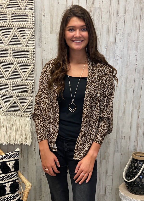 Passion for Fashion Brown Snakeprint Cardigan-Shop-Womens-Boutique-Clothing