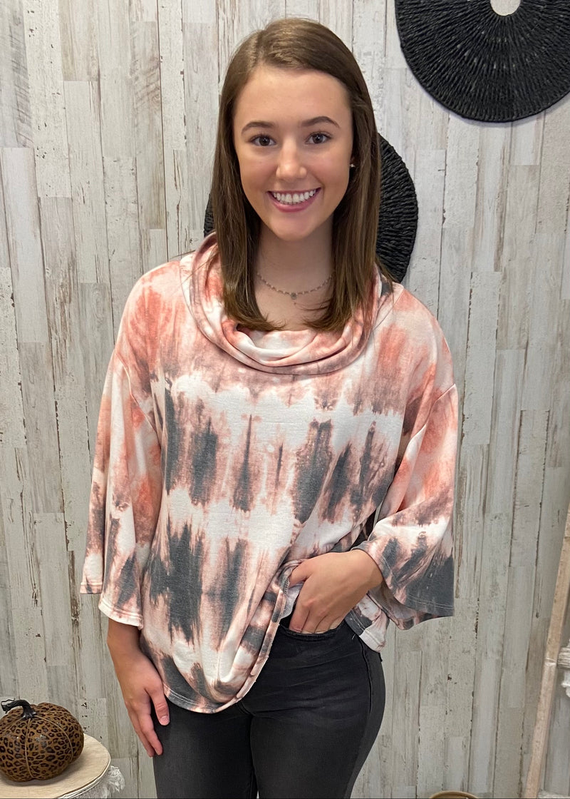 Fall Weather Charcoal Tie Dye Top-Shop-Womens-Boutique-Clothing