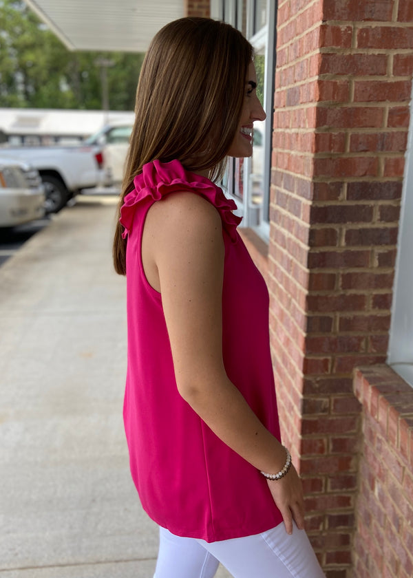 Happy About It Fuchsia Crepe Ruffle Shoulder Top-Shop-Womens-Boutique-Clothing