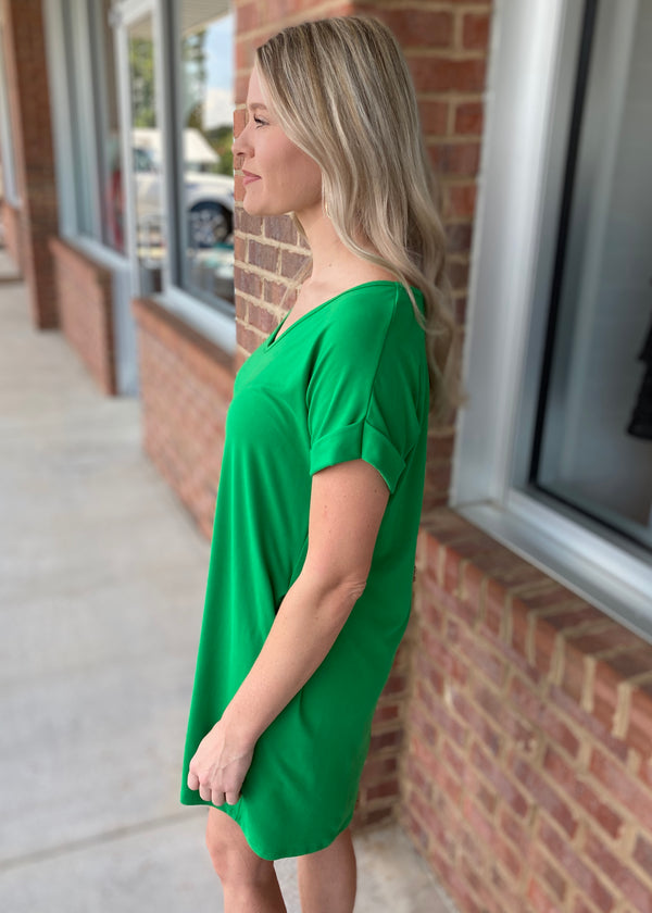 Long Lost Love Green V Neck Boxy Dress With Pockets-Shop-Womens-Boutique-Clothing