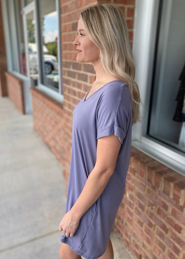 Long Lost Love Lavender V-Neck Dress-Shop-Womens-Boutique-Clothing
