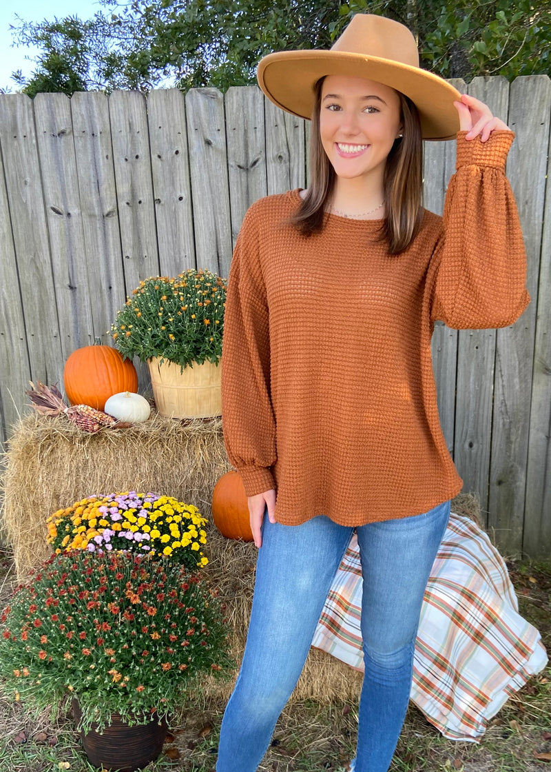 Woodland Wishes Camel Waffle Top-Shop-Womens-Boutique-Clothing