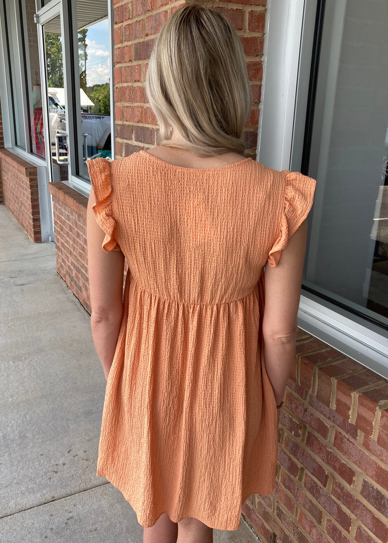 Fairytale Bliss Orange Crinkled Dress-Shop-Womens-Boutique-Clothing
