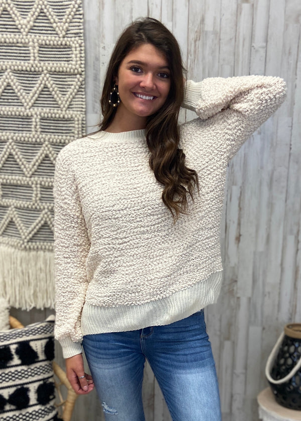 Snuggle Up Buttercup Natural Popcorn Sweater-Shop-Womens-Boutique-Clothing