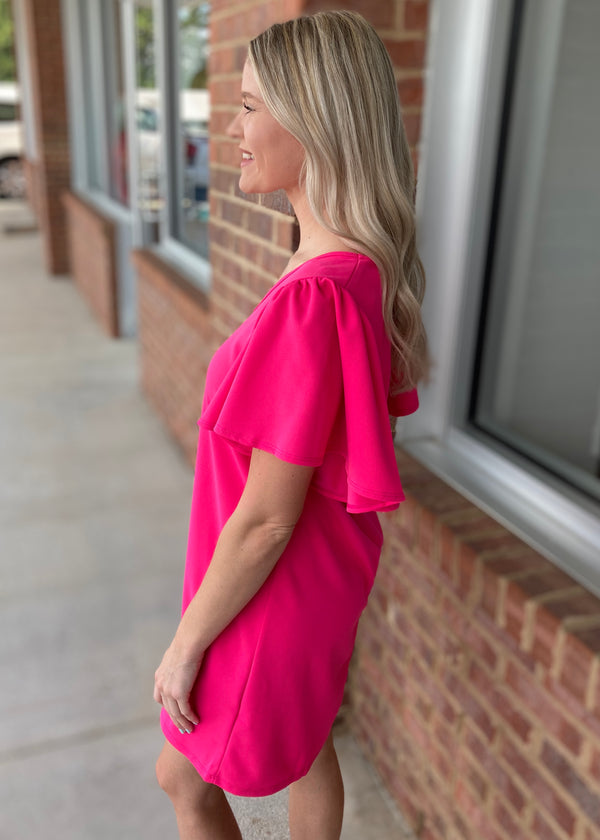 Darling Angel Hot Pink Vneck Ruffle Sleeve Dress-Shop-Womens-Boutique-Clothing