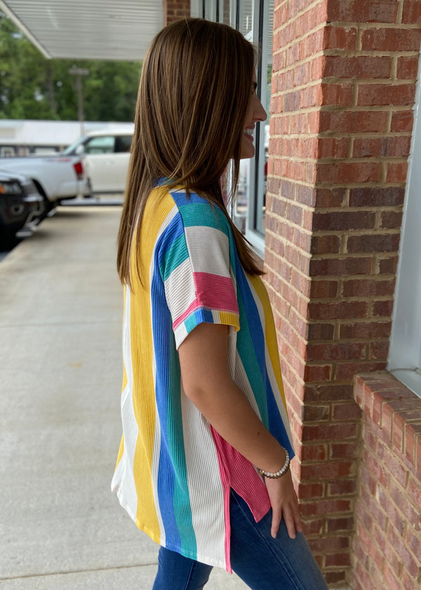 The Outer Banks Multicolor Ribbed Striped Oversized Vneck Top-Shop-Womens-Boutique-Clothing