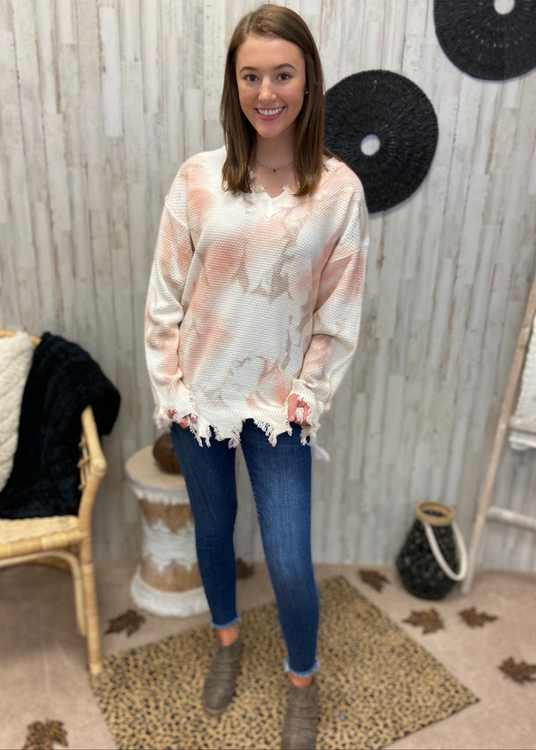 Sweeter Than Pie Blush Tie Dye Sweater-Shop-Womens-Boutique-Clothing