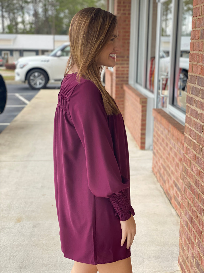 Shine For You Wine Gathered Top Dress-Shop-Womens-Boutique-Clothing