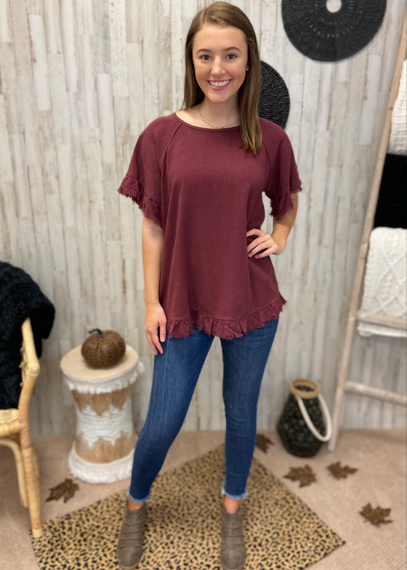 Always Overcome Burgundy Linen Top-Shop-Womens-Boutique-Clothing