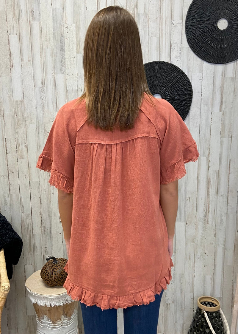 Always Overcome Rust Linen Top-Shop-Womens-Boutique-Clothing