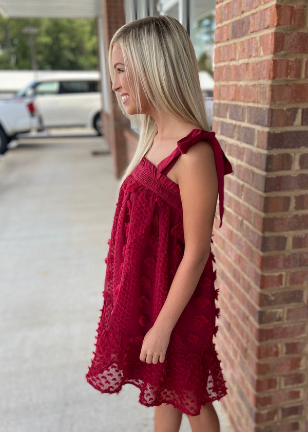 Add A Little Something Burgundy Pom Pom Dress-Shop-Womens-Boutique-Clothing
