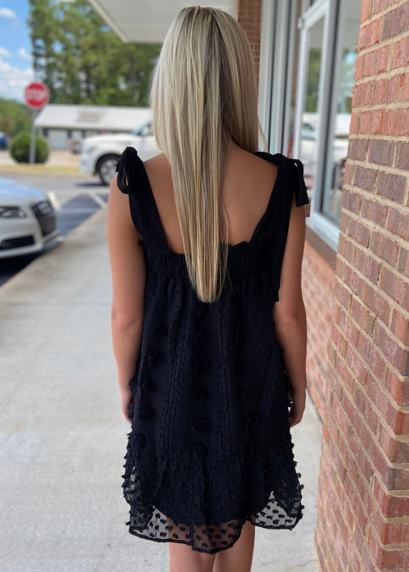 Add A Little Something Black Pom Pom Dress-Shop-Womens-Boutique-Clothing