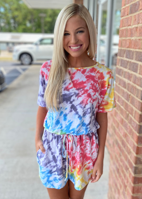 Totally Noticeable Rainbow Tie Dye Romper-Shop-Womens-Boutique-Clothing