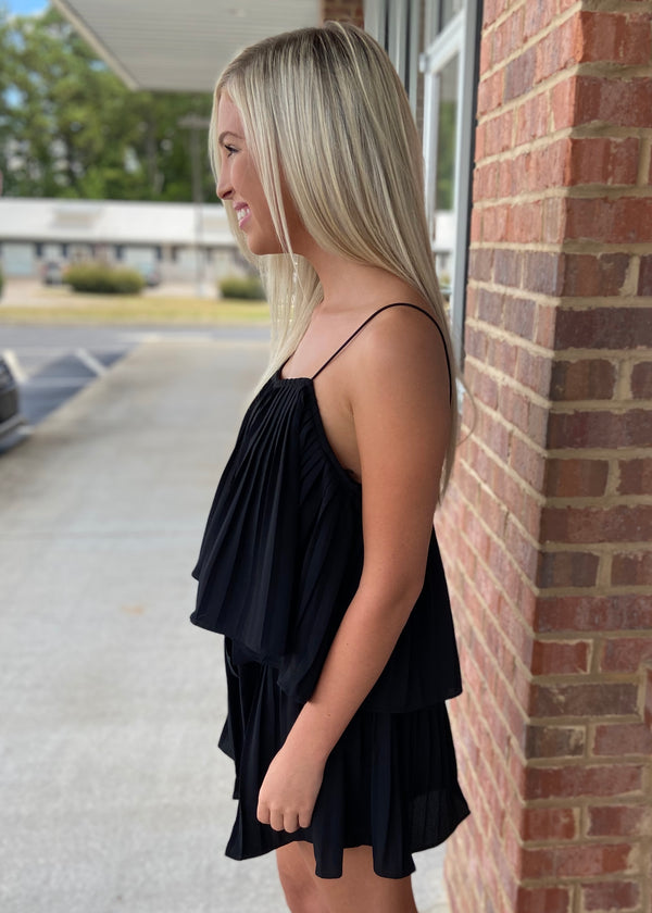Effortless Grace Black Pleated Romper with Waist Sash-Shop-Womens-Boutique-Clothing