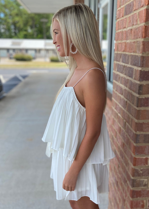 Effortless Grace White Pleated Romper with Waist Sash-Shop-Womens-Boutique-Clothing