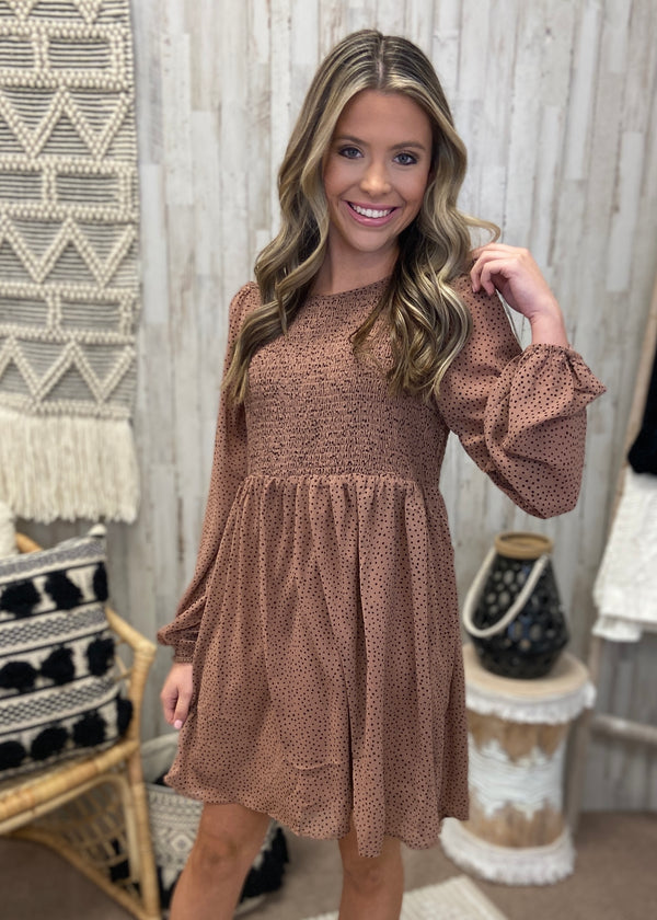 Bouquet Of Beauty Mocha Smocked Dress-Shop-Womens-Boutique-Clothing