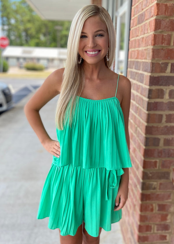Effortless Grace Jade Pleated Romper with Waist Sash-Shop-Womens-Boutique-Clothing