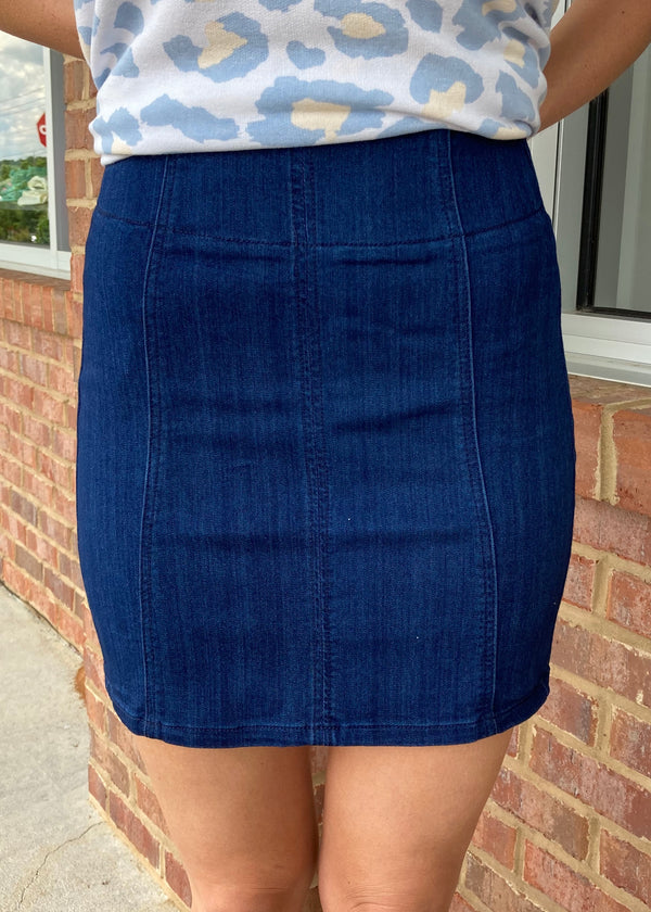 Sweet As You Dark Denim High Rise Skirt-Shop-Womens-Boutique-Clothing