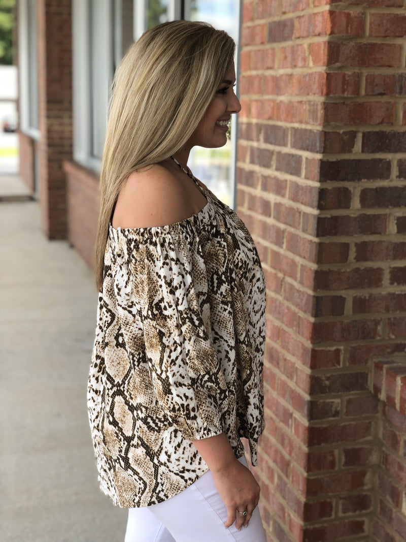 All Because Of You Brown Snakeprint Top-Shop-Womens-Boutique-Clothing